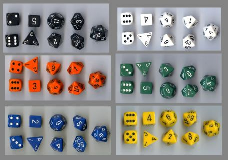 Set of Nine Polydice (Assorted Colours)